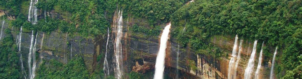 Noh Kalikai Falls in Meghalaya, India